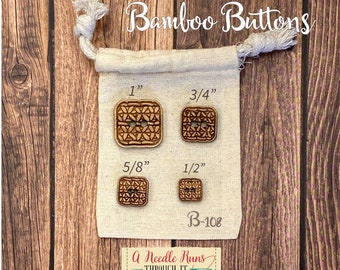 B-108 Wood Bamboo buttons, buttons for knits, knitting and crochet sweater buttons. sewing notions, button closure.Bee Sewing buttons bamboo