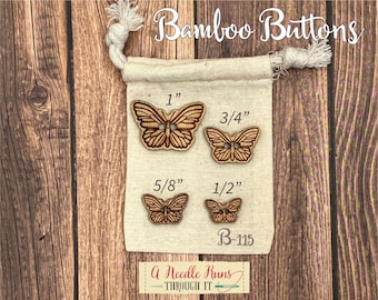 B-115 Wood Bamboo buttons, buttons for knits, knitting and crochet sweater buttons. sewing notions, button closure.Bee Sewing buttons bamboo