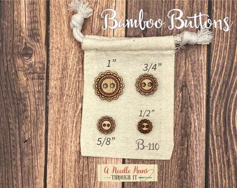 B-110 Wood Bamboo buttons, buttons for knits, knitting and crochet sweater buttons. sewing notions, button closure.Bee Sewing buttons bamboo