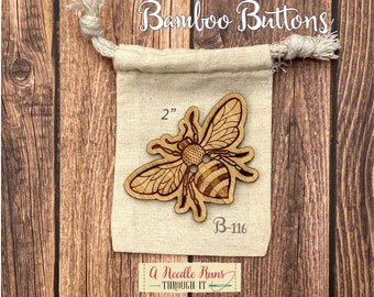"""B-116 Large 2"""" Bamboo Bee button,button decoration,knitting and crochet sweater buttons. Single Button. Bee Sewing buttons bamboo.Hat button"""