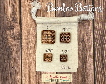 B-114 Wood Bamboo buttons, buttons for knits, knitting and crochet sweater buttons. sewing notions, button closure. Sewing buttons bamboo