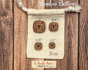 B-105 Wood Bamboo buttons, buttons for knits, knitting and crochet sweater buttons. sewing notions, button closure. Sewing buttons bamboo