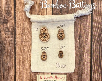 B-107 Wood Bamboo buttons, buttons for knits, knitting and crochet sweater buttons. sewing notions, button closure.Bee Sewing buttons bamboo