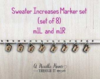 Sweater Increase stitch markers Helpful Stitch Markers,make one left, make one right helpful stitch markers. Knitalong stitch markers set