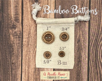 B-111 Wood Bamboo buttons, buttons for knits, knitting and crochet sweater buttons. sewing notions, button closure.Bee Sewing buttons bamboo