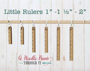Little rulers Stitch markers set, knitter gift, snag free stitch markers, ruler progress keepers.  One, one and a half and 2 inch ruler set