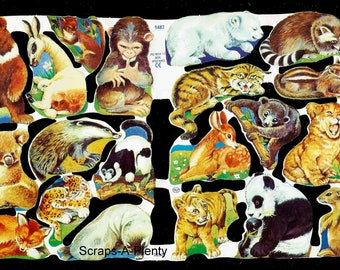 Cute Bunny /& Mice Die Cut Scrap Mamelok English Embossed Animals  1745