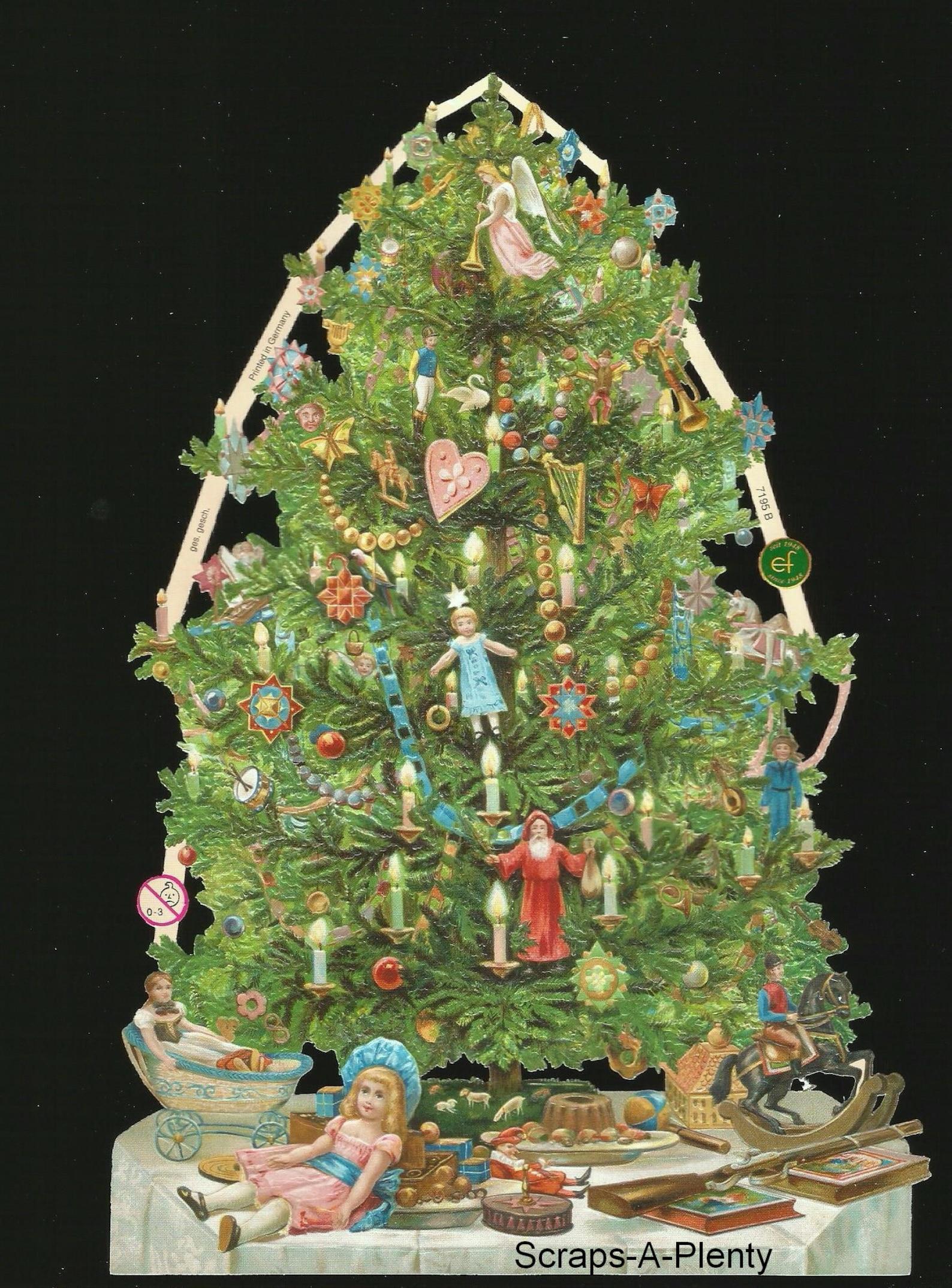 German Embossed Vintage Style Scrap Die Cut - Decorated Christmas Tree EF7195