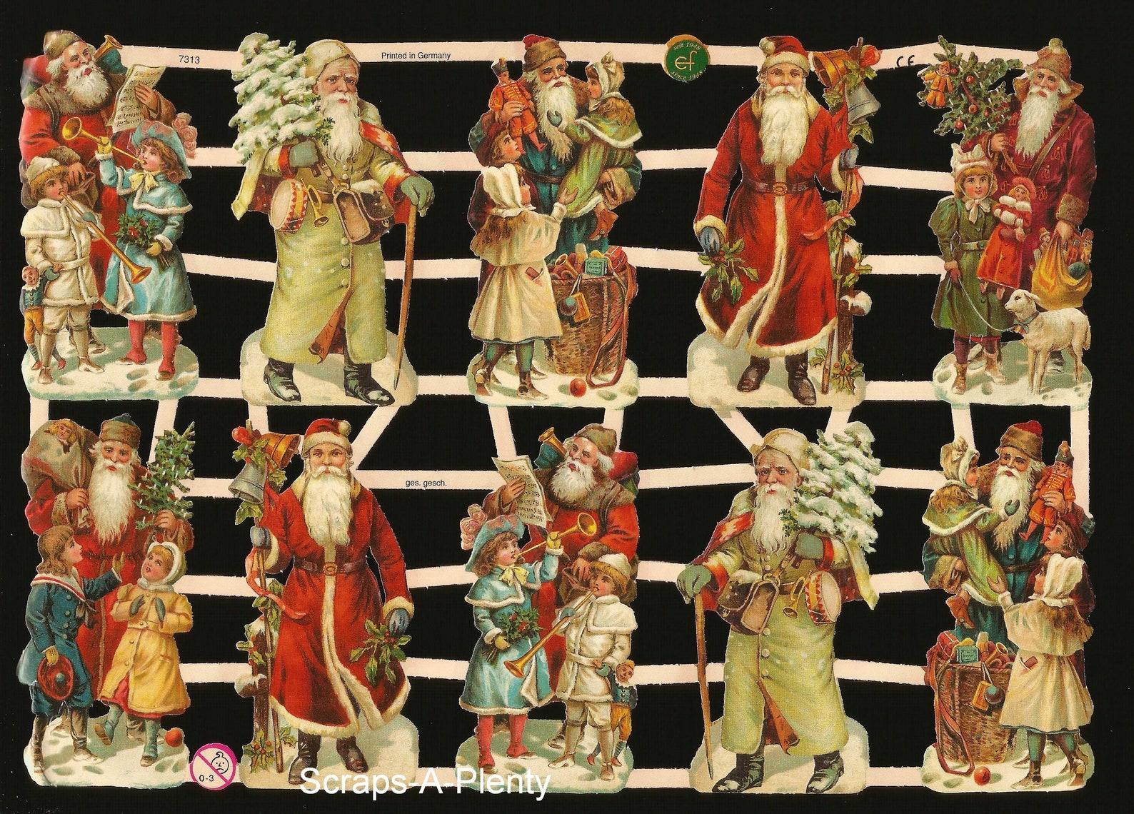 German Embossed Vintage Style Scrap Die Cut Relief - Lots of Christmas Santa's EF7313