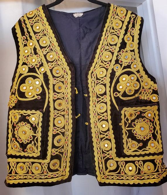 Vintage Middle Eastern Pakistan Waistcoat Velvet V