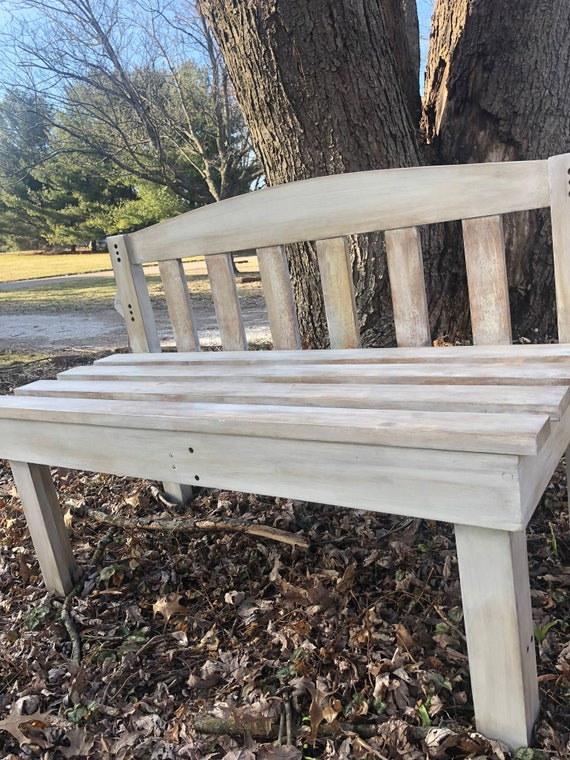 Sensational Distressed Bench Made From A Repurposed Bed Frame Only Bench Is Being Sold Gamerscity Chair Design For Home Gamerscityorg