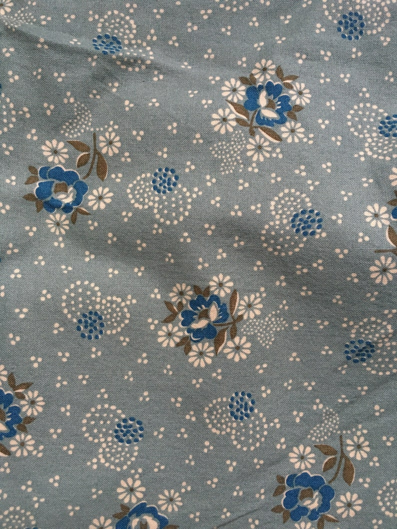 Denyse Schmidt Free Spirit Quilting Cotton Half Yard Hope Valley Westminister DS04 Wall Flower Sage Green Blue Floral