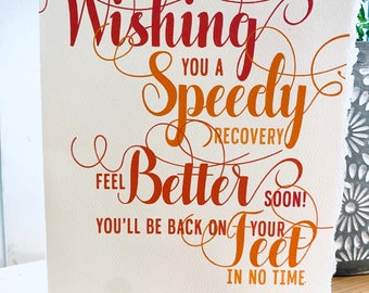Wishing you a speedy recovery, on your feet in no time [ good thoughts ]