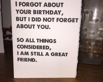i forgot your birthday [ birthday card ]