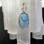 Genuine Rare  Golden Hills Kazakhstan Turquoise Pendant is Wire Wrapped in Sterling Silver, Light Blue Gemstone