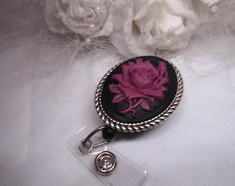 Goth Unique Retractable Lanyard Black Rose Cameo ID Badge Holder