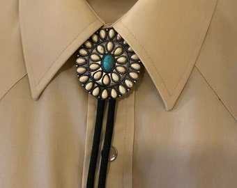 Navajo Cluster Turquoise White Silver Black Bolo Tie Southwest Cowgirl Cowboy