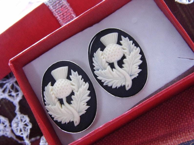 Black /& White Scottish Scotland Thistle Cameo Sterling Silver Plated Kitsch art designer Cameo Cufflinks Mens or Ladies