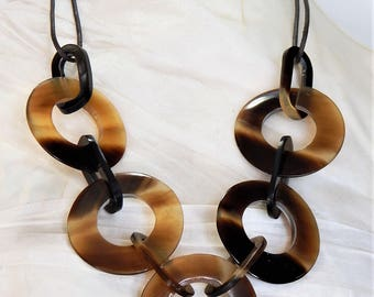 HANDMADE Organic String Necklace Buffalo Horn  VHNS717