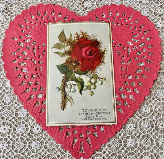 lovely victorian candy company trade card with crimson rose etsy