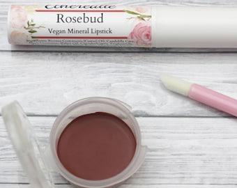 """Sheer Red Lipstick - """"Rosebud"""" vegan and natural mineral makeup"""