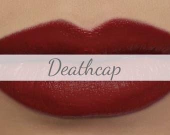 "Vegan Matte Red Lipstick Sample - ""Deathcap"" deep true red natural lipstick with organic ingredients"
