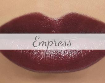 "Vegan Lipstick Sample - ""Empress"" dark goth burgundy red lipstick"