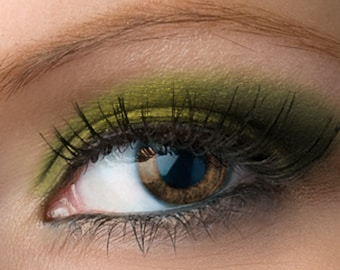 "Gold Forest Green Shimmer Eyeshadow - ""Huntress"" - Vegan Mineral Makeup"