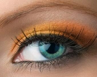 "Pumpkin Orange with Gold Duochrome Shimmer Eyeshadow - ""Rikku"" - Vegan Mineral Makeup"