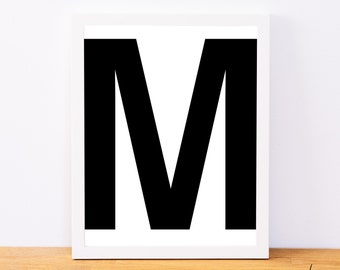 Letter M, Typography Print, Letter Print, Printable Monogram, Printable Art, Minimal Decor, Black and White Wall Art, Digital Download