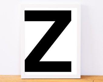 Letter Z, Typography Print, Letter Print, Printable Monogram, Printable Art, Minimal Decor, Black and White Wall Art, Digital Download