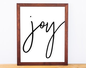 Joy, Typography Print, Lettering, Printable Quote, Black and White Wall Art, Modern Holiday Decor, Digital Download