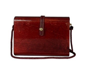 Vintage Woman's Wood Bag - Vintage Crossbody Bag