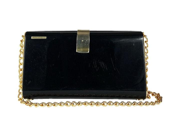 Vintage Bakelite Bag - Vintage Clutch Bag - Black Shoulder Bag