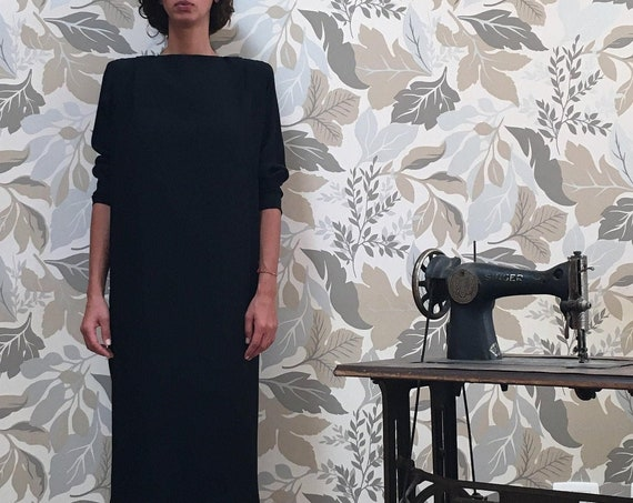 80s Vintage Structured Silk Midi Dress