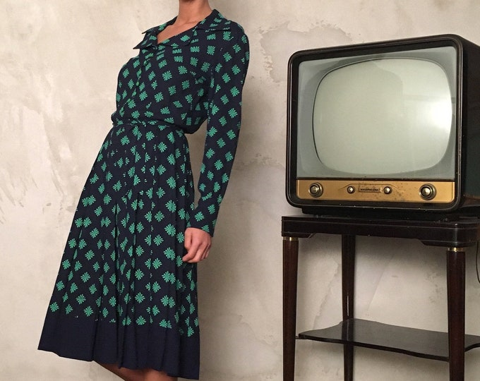 Chemisier Vintage from 70s - Vintage Midi Dress for Woman - Pois Vintage Dress