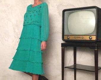 Handmade Vintage Silk Emerald Dress - Vintage Embroidery Silk Dress - Vintage Embellished Dress - Woman Vintage Sequin Dress