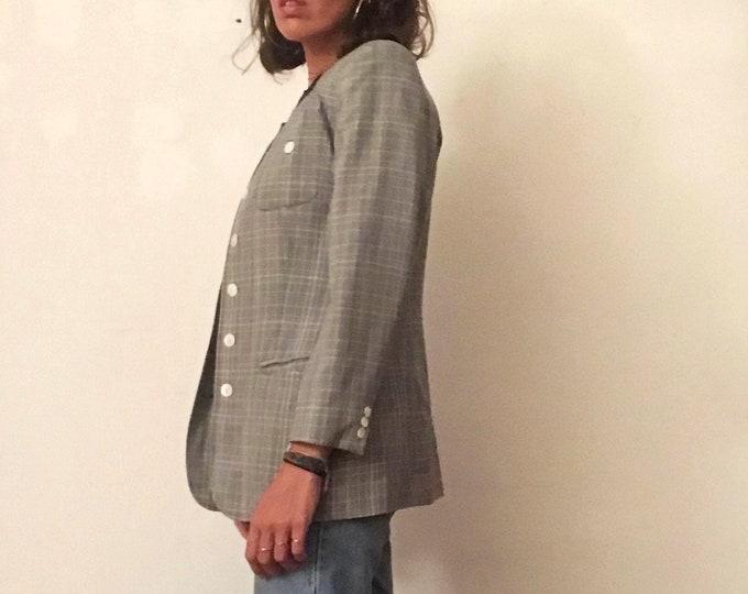 Vintage Cacharel Woman Blazer - 80's Vintage Woman Blazer - Check Vintage Blazer