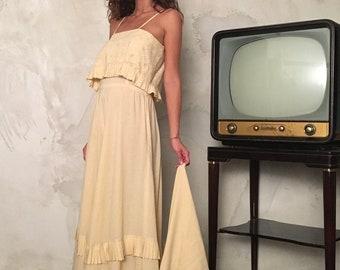 Romantic Vintage Maxi Dress - Woman Ivory Slip Long Dress