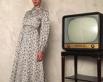 Vintage Jacquard Long Dress - Damask Vintage Maxi Dress -