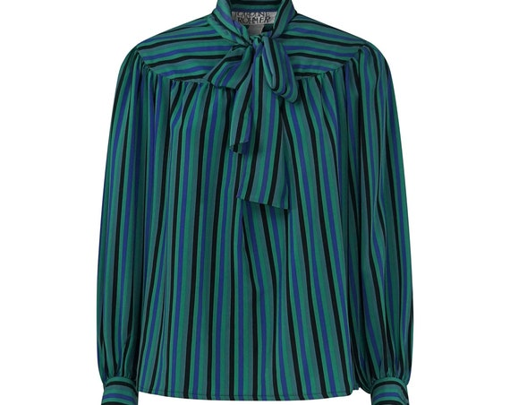 Vintage Ribbon Collar Striped Shirt
