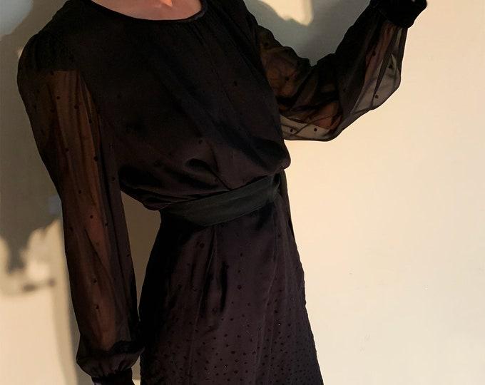 Pierre Cardin Paris Vintage Black Dress - Black Silk Micro Pois Dress for Her - Woman Chic Party Dress - Vintage Polka Dots Dress
