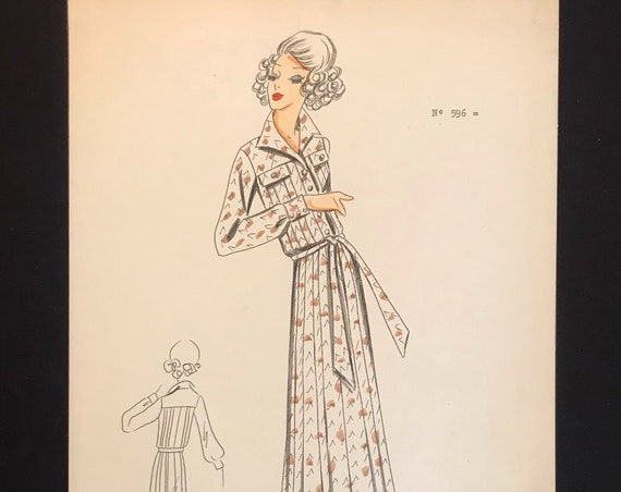 Fashion Croquis from 70s - 70s Hand-made and hand-painted Fashion Drawing