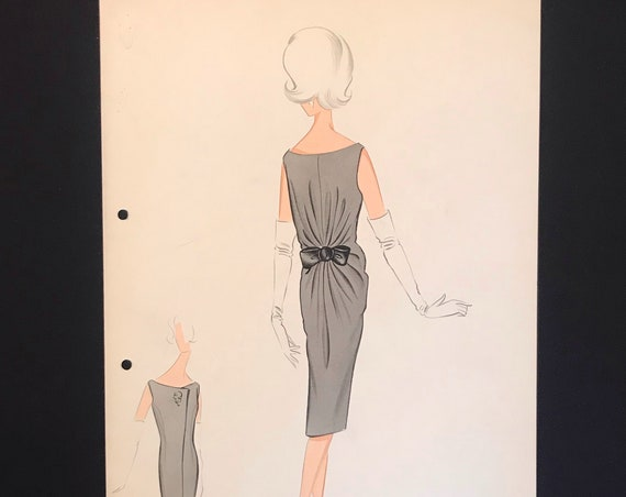 PIERRE CARDIN Fashion Croquis from 60s - 60s Hand-made and hand-painted Fashion Drawing