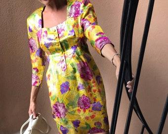 Vintage Party Dress from 80s - Vintage 80s Mini Dress Floral Jacquard