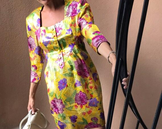 Girly Party Dress Vintage 80s - Vintage 90s Mini Dress Floral Jacquard