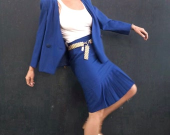 Vintage Woman's Blue Suit - Vintage Blazer and Skirt Suit