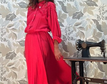 Maxi Texan Red Dress - Woman Vintage Dress from 80s Texan Style - 80s Embellished Dress