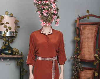 Vintage Silk Kimono Dress and Belt - Vintage Chemisier Longuette Dress - Vintage Silk Dress