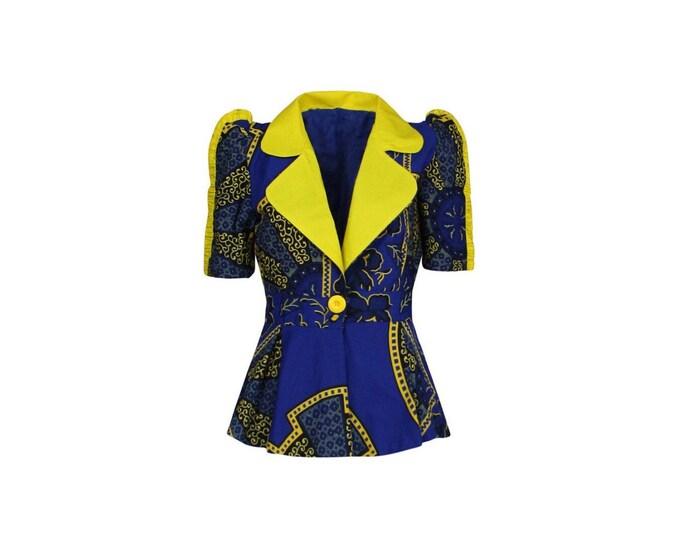 Afro-Style Vintage Blazer - Woman Vintage Tailored Blazer - Woman Multicolors Cotton Blazer